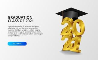 Graduation 20212021 class graduation with 3d graduate cap illustration vector