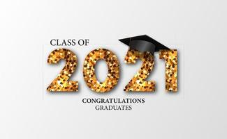graduación 20212021 graduación de clase con ilustración de gorra graduada 3d vector