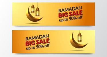 Plantilla de banner de gran venta de Ramadán con linterna dorada y luna creciente vector