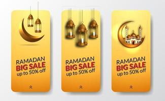 Plantilla de banner de cartel de historias de redes sociales de Ramadán