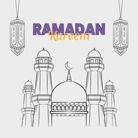 dibujado a mano ilustración de saludo de los días de ramadan kareem o eid al fitr vector
