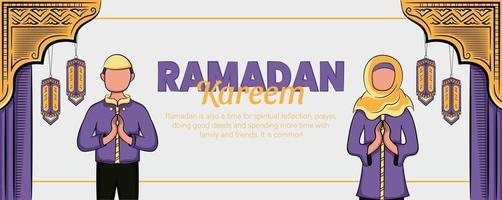 Ramadan kareem banner with hand drawn islamic illustration ornament vector