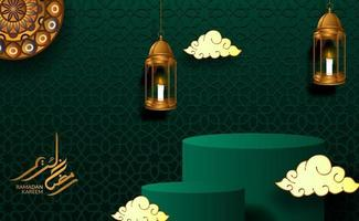 cylinder podium display with hanging lantern and green background for ramadan or islamic event vector