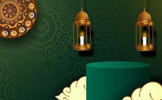 Ramadan kareem elegant luxury background with 3d arabic lantern vector