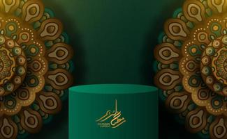 Cylinder podium display with mandala arabic pattern decoration with green background vector