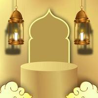 exhibición del escenario del podio de Ramadán con decoración de linterna dorada vector