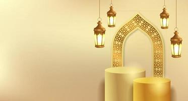 Ramadan islamic event with golden lantern and cylinder podium product display template vector