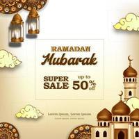 ramadan mubarak sale offer banner luxury elegant with mosque and lantern mandala decoration vector
