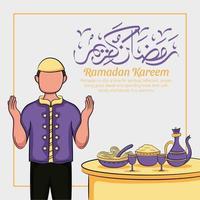 Hand drawn illustration of ramadan kareem or eid al fitr days greeting concept vector
