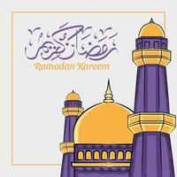 Hand drawn illustration of ramadan kareem or eid al fitr days greeting vector