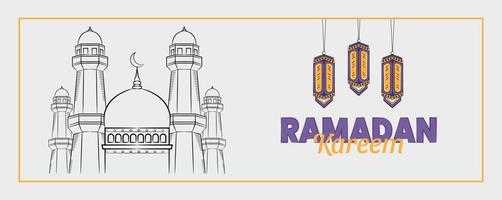 Ramadan kareem banner with hand drawn islamic illustration vector