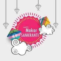 Ilustración vectorial de un fondo de makar sankranti indio tradicional con cometas de colores vector