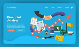 Website landing page mockup for financial adviser vector
