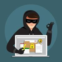 Cyber hacker stealing data on internet device vector
