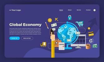 maqueta de la página de destino del sitio web para la economía
