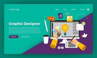 Website landing page mockup for graphic design vector