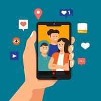 Hand holds smartphone for selfie vector