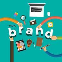 manos de negocios construyendo marca vector