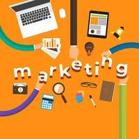 business hands building marketing plan vector