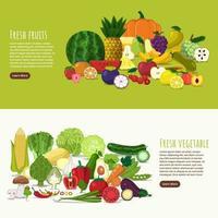 banner de frutas y verduras saludables