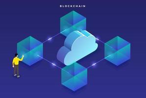 Blockchain technology, secure digital money vector
