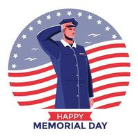 Soldier Saluting for Happy Memorial Day Concept vector