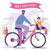 Father and Son Ride Bicycles Around Town vector
