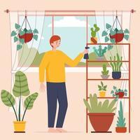 hombres felices regando plantas de interior en casa vector