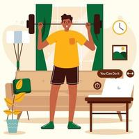 ejercicio en casa con una guía para computadora portátil vector