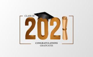 graduación 2021 graduación de clase con ilustración de gorra graduada 3d vector