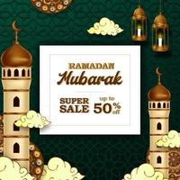 Ramadán mubarak oferta de venta banner de lujo elegante con decoración de mezquita y linterna