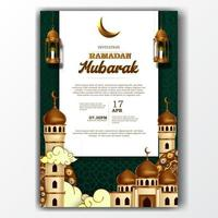 ramadan mubarak iftar invitation poster elegant with mosque and lantern decoration vector