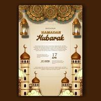 ramadan mubarak inftar invitation poster elegant with mosque and lantern decoration vector