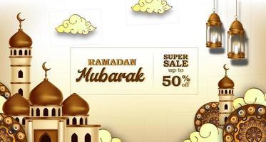 ramadan mubarak sale offer banner luxury elegant with mosque and lantern decoration vector