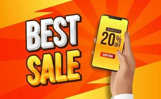 Sale offer banner with hand holding phone vector