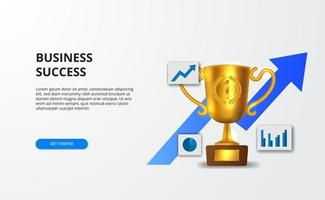 Concept successful business growth with graph and 3d golden realistic trophy for banner presentation. vector