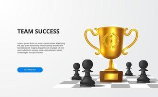 gran éxito para el negocio de estrategia de equipo con un gran trofeo realista en 3D con tablero de ajedrez de peón. vector