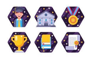 Cartoon Flat Graduation Icon Collection vector