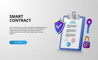 Digital smart contract for electronic sign document agreement security, finance, legal corporate. Clipboard document illustration with shield protection security vector