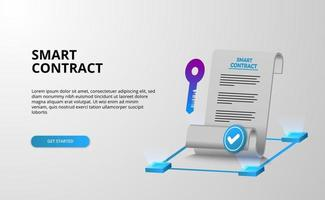 Digital smart contract for electronic sign document agreement security, finance, legal corporate. Paper document and key security protection vector