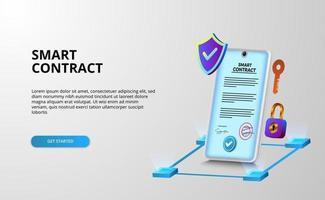 Digital smart contract for electronic sign document agreement security, finance, legal corporate. Digital phone security with shield and padlock security protection vector