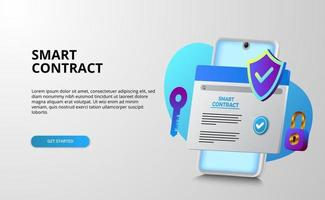 Digital smart contract for electronic sign document agreement security, finance, legal corporate. Mobile web document with shield, key, and padlock for security and protection vector