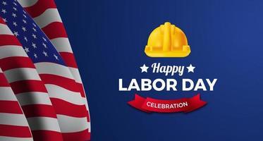 Cartel del día del trabajo americano con bandera y casco de trabajador de ingeniero de seguridad sobre fondo azul. vector