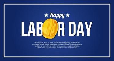 Plantilla de banner de póster del día del trabajo con casco de seguridad amarillo 3d sobre fondo azul vector