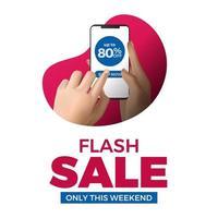 mano sujetando el teléfono para la plantilla de redes sociales de venta flash. Promoción de marketing publicitario para productos con descuento en el comercio.