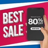 mano sujetando el teléfono para la mejor plantilla de redes sociales de venta. Promoción de marketing publicitario para productos con descuento en el comercio.