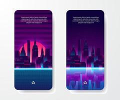 plantilla de historias de redes sociales. edificio de rascacielos de silueta urbana de gran ciudad con reflejos de neón azul, rosa, púrpura. estilo retro de los años 80 con fondo degradado al atardecer