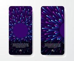 plantilla de historias de redes sociales. gradiente de análisis de big data. neón púrpura, cian y azul estalló la energía radial de la onda de destello. tecnología moderna retro sobre fondo oscuro