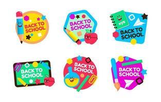 linda insignia de etiqueta de regreso a la escuela vector