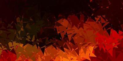 Dark orange vector background with triangles.